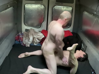 Daddy bear fucks ass in van with blowjob